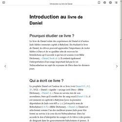 Introduction au livre de Daniel