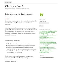 Introduction au Text-mining