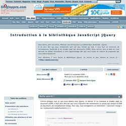 Introduction la biblioth que JavaScript jQuery