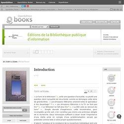 De l'écrit à l'écran - Introduction - Éditions de la Bibliothèque publique d'information