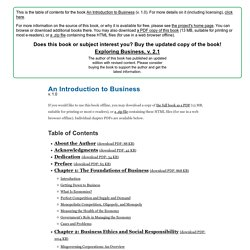 An Introduction to Business - Table of Contents