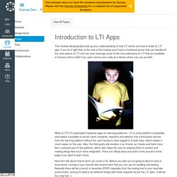 Introduction to LTI Apps: Canvas Dev and Friends