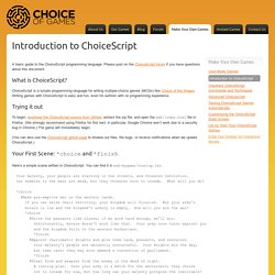 Introduction to ChoiceScript