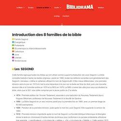 Introduction du classement des bibles en 8 familles