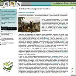 Introduction aux discours coloniaux - Débats sur l'esclavage: avant l'abolition