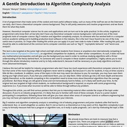 A Gentle Introduction to Algorithm Complexity Analysis