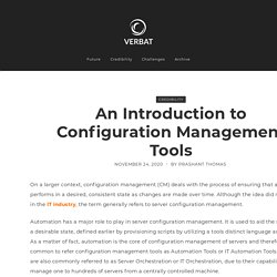 An Introduction to Configuration Management Tools