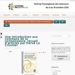 Une introduction aux communs de la connaissance, recueil d'articles par Hervé Le Crosnier
