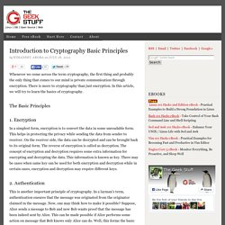 Introduction to Cryptography Basic Principles