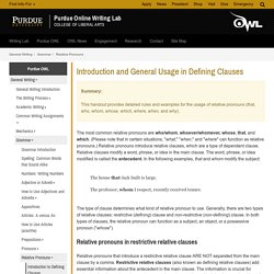 Introduction to Defining Clauses // Purdue Writing Lab