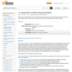 Introduction to AWS for Ruby Developers : Articles & Tutorials : Amazon Web Services