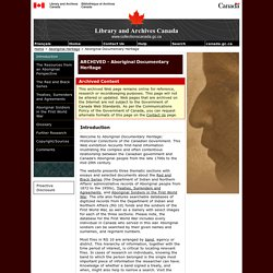 ARCHIVED - Introduction - Aboriginal Documentary Heritage - Library and Archives Canada