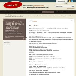 Savoirs CDI: Introduction de la notion de curriculum en information-documentation