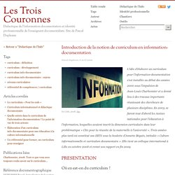 Introduction de la notion de curriculum en information-documentation