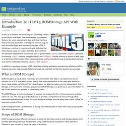 Introduction to HTML5 DOMStorage API with Example