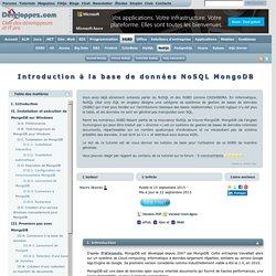 Introduction à la base de données NoSQL MongoDB