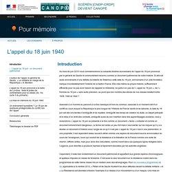 «L'appel du 18 juin 1940»-Pour mémoire-CNDP