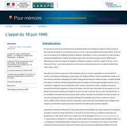 Introduction du dossier «L'appel du 18 juin 1940»-Pour mémoire-CNDP