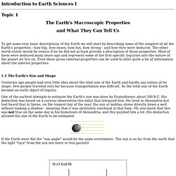 Introduction to Earth Sciences I