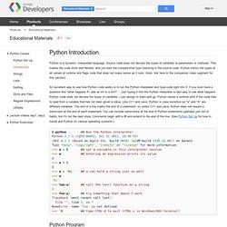 Python Introduction - Google's Python Class - Google Code