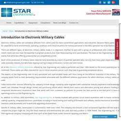 Introduction to Electronic Military Cables