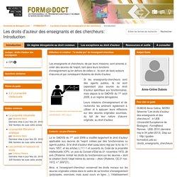 Introduction - Les droits d'auteur des enseignants et des chercheurs - FORMADOCT at Université européenne de Bretagne
