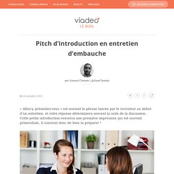 Pitch d'introduction en entretien d'embauche