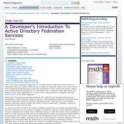 Developer's Introduction To Active Directory Federation Services