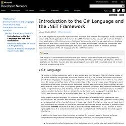 Introduction au langageC# et au .NET Framework