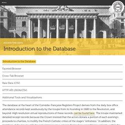Introduction générale à la base de données - Comédie Française Registers Project