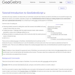 Tutorial:Introduction to GeoGebraScript