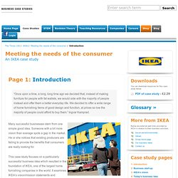 Meeting the needs of the consumer - IKEA
