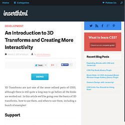 An Introduction to 3D Transforms and Creating More Interactivity