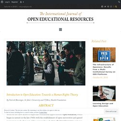 Introduction to Open Education: Towards a Human Rights Theory – International Journal of Open Educational Resources