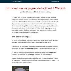 Introduction au jargon de la 3D et à WebGL