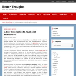 A brief Introduction to JavaScript Frameworks