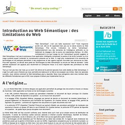 Introduction au Web Sémantique : des limitations du Web