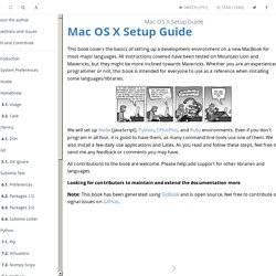 Mac OS X Setup Guide