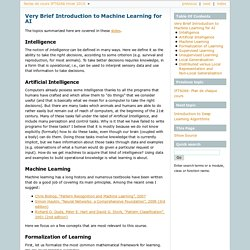 Very Brief Introduction to Machine Learning for AI — Notes de cours IFT6266 Hiver 2010