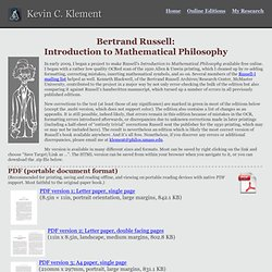 Russell's Introduction to Mathematical Philosophy