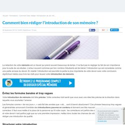 Introduction du mémoire : comment faire ?