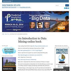 An Introduction to Data Mining-online book