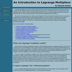 An Introduction to Lagrange Multipliers