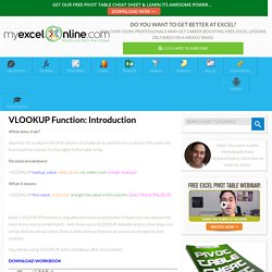 VLOOKUP Function: Introduction – Excel Blog – MyExcelOnline Blog
