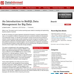 An Introduction to NoSQL Data Management for Big Data