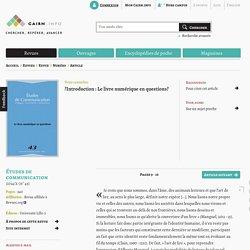 Introduction : Le livre numérique en questions