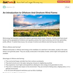 An introduction to Offshore And Onshore Wind Farms