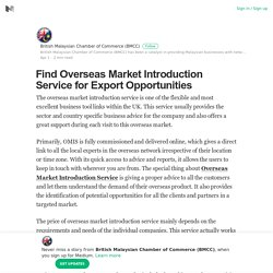 Find Overseas Market Introduction Service for Export Opportunities