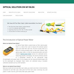 The Introduction of Optical Power Meter