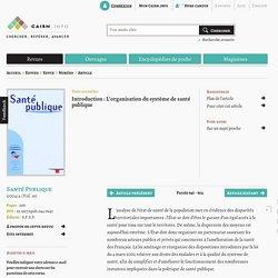 Introduction : L'organisation du système de santé publique